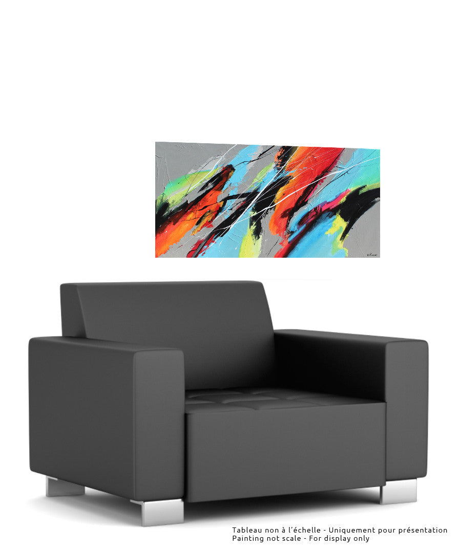 Sans titre 24x48 po/in Painting - Unique Abstract Art by Pierre Bellemare
