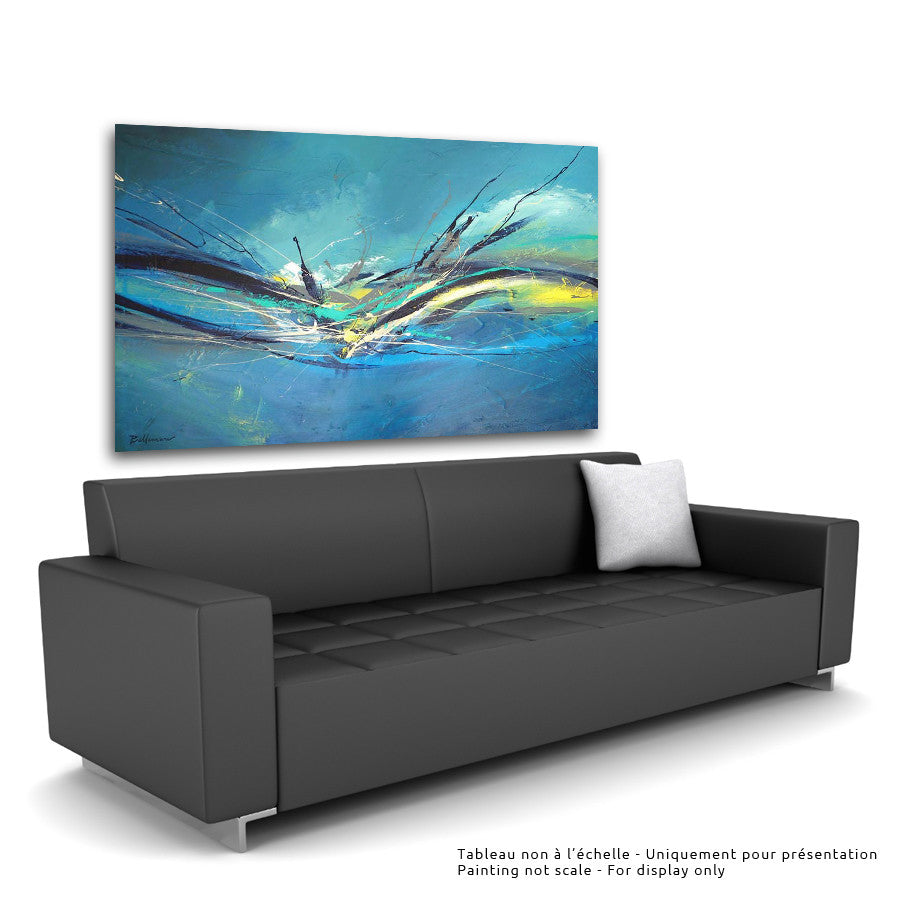 Surfing 36x60 po/in Painting - Unique Abstract Art by Pierre Bellemare