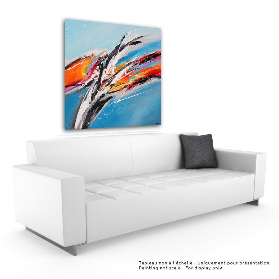 Surfing 48x48 po/in Painting - Unique Abstract Art by Pierre Bellemare