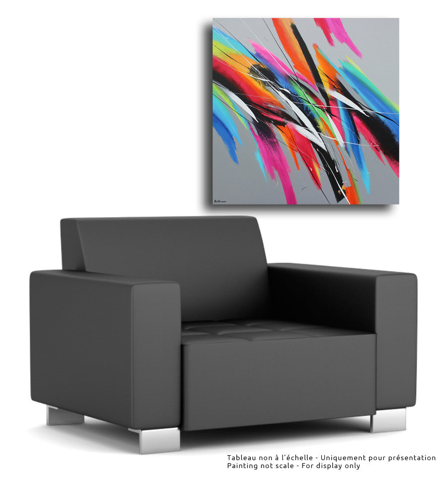 Synchronicity 40x40 po/in Painting - Unique Abstract Art by Pierre Bellemare