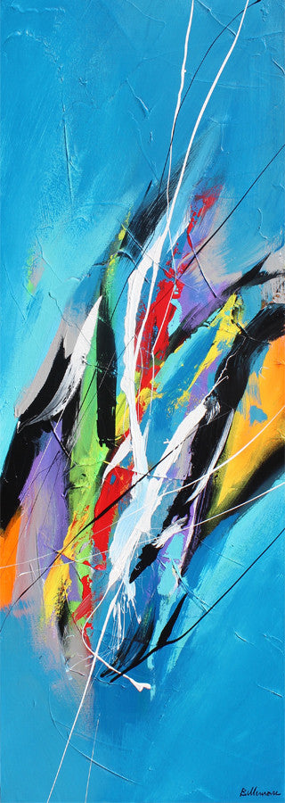 Rafting 48x16 po/in Painting - Unique Abstract Art by Pierre Bellemare