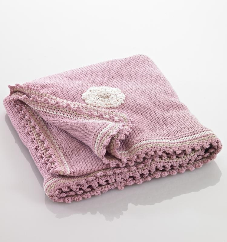 Pebbles Pink Flower Organic Cotton Blanket
