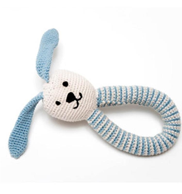 Pebbles Organic Cotton Puppy Dog Rattle - Blue