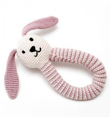 Pebbles Organic Cotton Puppy Dog Rattle - Pink