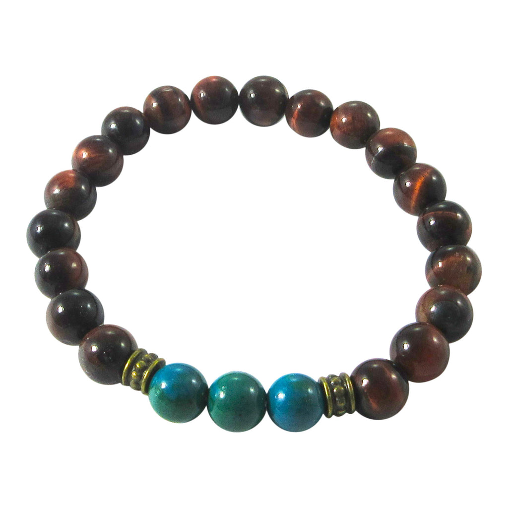 Red Tiger's Eye & Chrysocolla Bracelet
