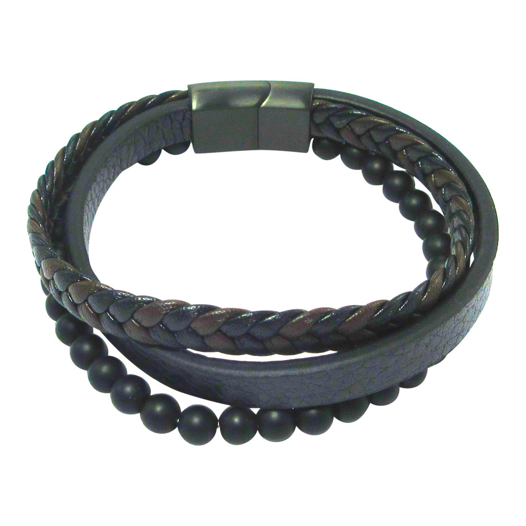 Stainless Steel Leather Bracelet With Lava Stone Beads