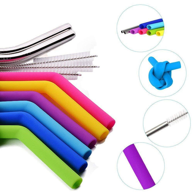Silicone & Stainless Steel Straw Set