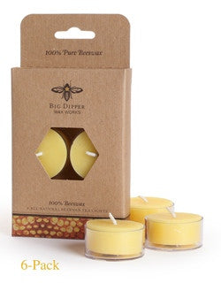 Pure Beeswax Tea Lights by Big Dipper - 6 Pack