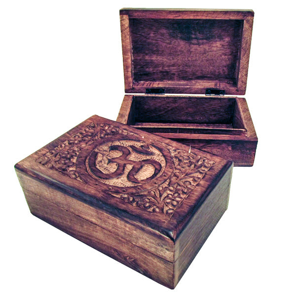 OM Hand Carved Wooden Treasure Box