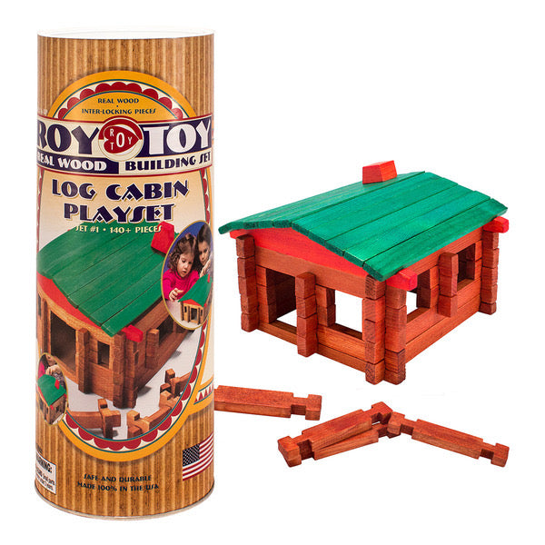 Roy Toy Log Cabin Playset #1 - Log Cabin 140+ Pieces