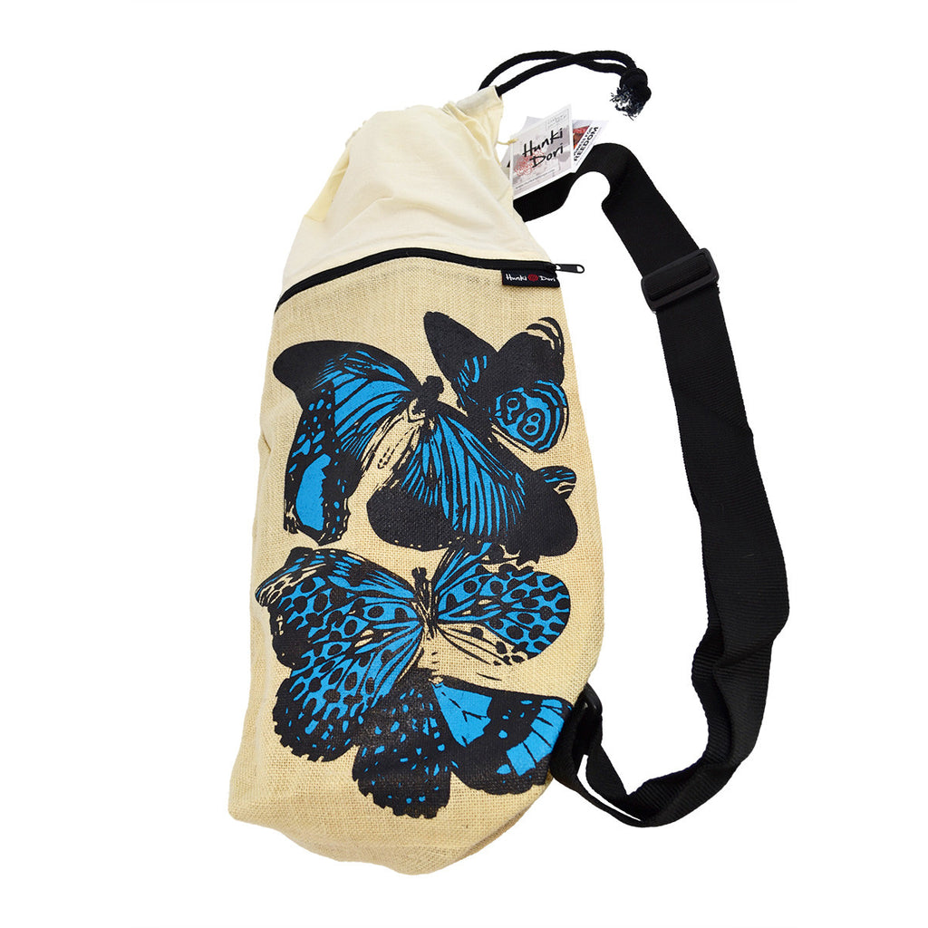 Rucksack jute/organic cotton yoga mat bag using eco-friendly dyes - butterflies