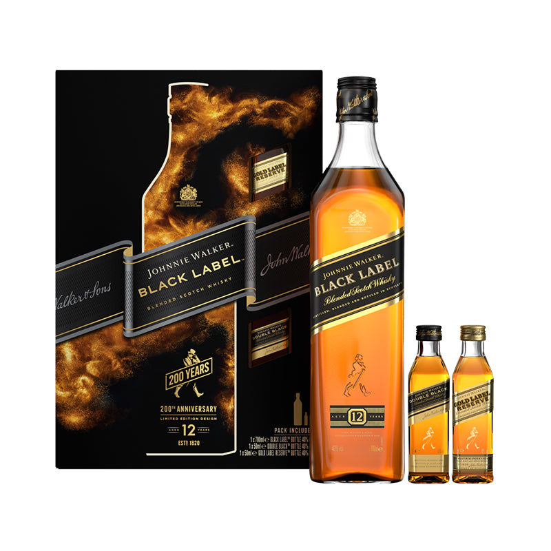 Johnnie Walker Black Label 40% 0.70L poklon pakovanje + JW Gold 0.05L+JW DoubleBlack 0.05L