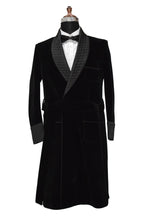 Load image into Gallery viewer, Men Black Smoking Jacket Designer Party Wear Long Coat