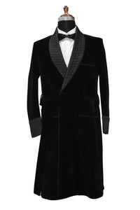 Men Black Smoking Jacket Designer Party Wear Long Coat