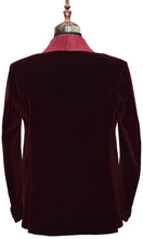 Load image into Gallery viewer, Men Burgundy Smoking Jacket Wedding Party Wear Blazer - TrendsfashionIN