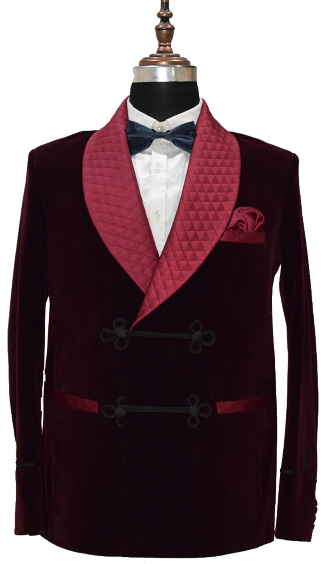 Men Burgundy Smoking Jacket Wedding Party Wear Blazer - TrendsfashionIN