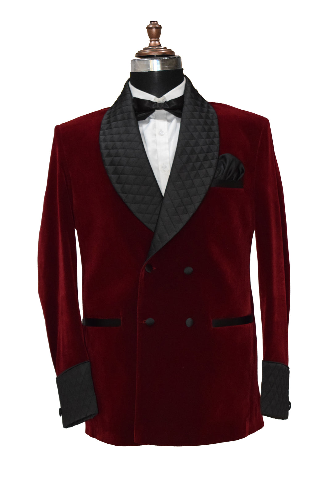 Men Maroon Smoking Jacket Wedding Party Wear Blazer - TrendsfashionIN