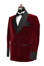 Load image into Gallery viewer, Men Maroon Smoking Jacket Wedding Party Wear Blazer - TrendsfashionIN