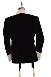 Men Black Smoking Jacket Dinner Party Wear Coat - TrendsfashionIN