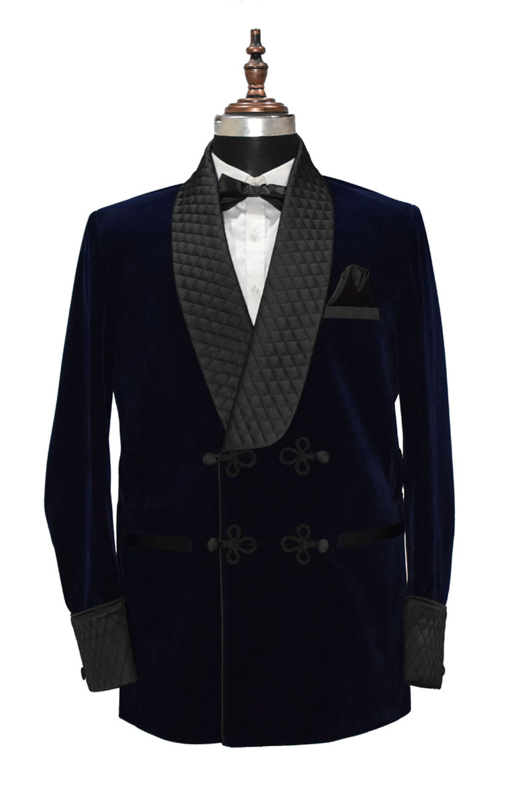 Men Navy Blue Smoking Jacket Dinner Party Wear Blazer - TrendsfashionIN