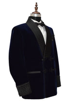 Load image into Gallery viewer, Men Navy Blue Smoking Jacket Dinner Party Wear Blazer - TrendsfashionIN