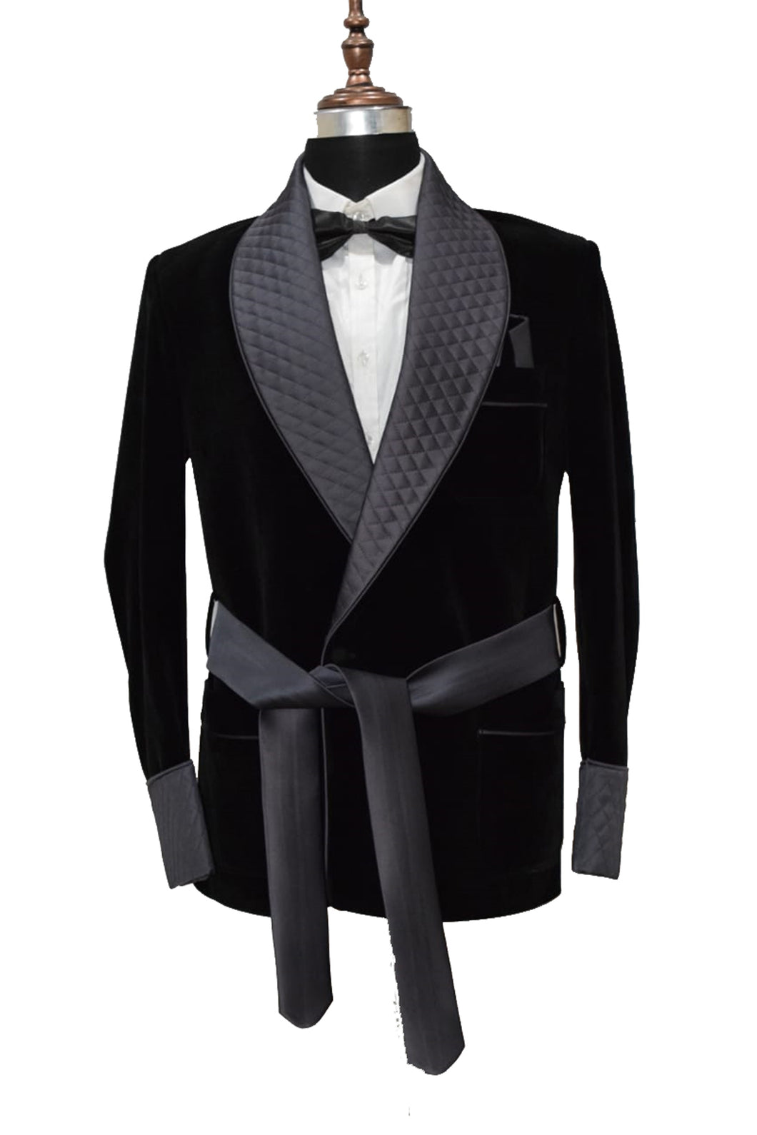 Men Black Smoking Jacket Dinner Party Wear Blazer - TrendsfashionIN