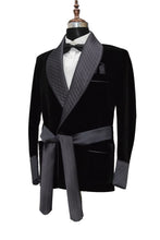 Load image into Gallery viewer, Men Black Smoking Jacket Dinner Party Wear Blazer - TrendsfashionIN