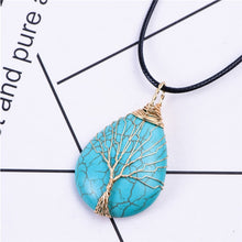 Load image into Gallery viewer, Tree of Life Wire Wrap Water Drop Necklace & Pendant Natural Stone Women Men Jewelry - TrendsfashionIN