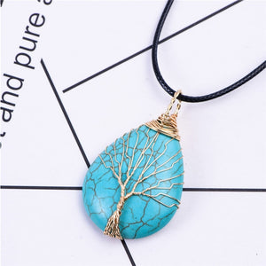 Tree of Life Wire Wrap Water Drop Necklace & Pendant Natural Stone Women Men Jewelry - TrendsfashionIN