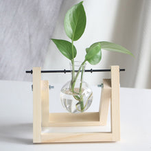Load image into Gallery viewer, Hydroponic Plant Vases Wooden Frame Glass Tabletop - TrendsfashionIN