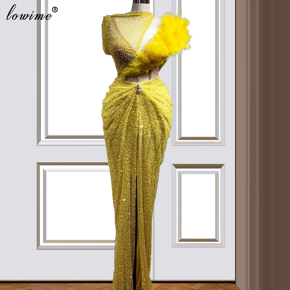 Women Yellow Beads Celebrity Dress 2020 - TrendsfashionIN
