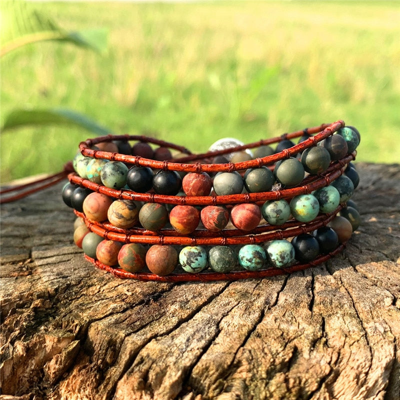 Unique Wrap Bracelet Leather Bracelets 3 Strands Wrap Bracelets Woven Multilayer Boho Bracelet Handmade Jewelry Dropshipping - TrendsfashionIN