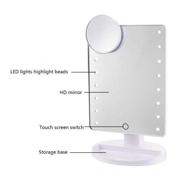16 LED Lighted Make Up Mirror Touch Screen - TrendsfashionIN