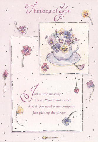 Thinking of you Card with raised effect - Pink Flowers 3  - 4TY3
