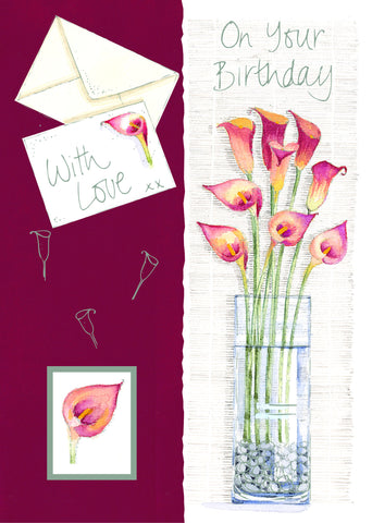 Birthday Card with 3-D effect - Floral 6 - 4PC02