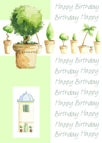 Birthday Card with attachment - Bushes - 4PC08