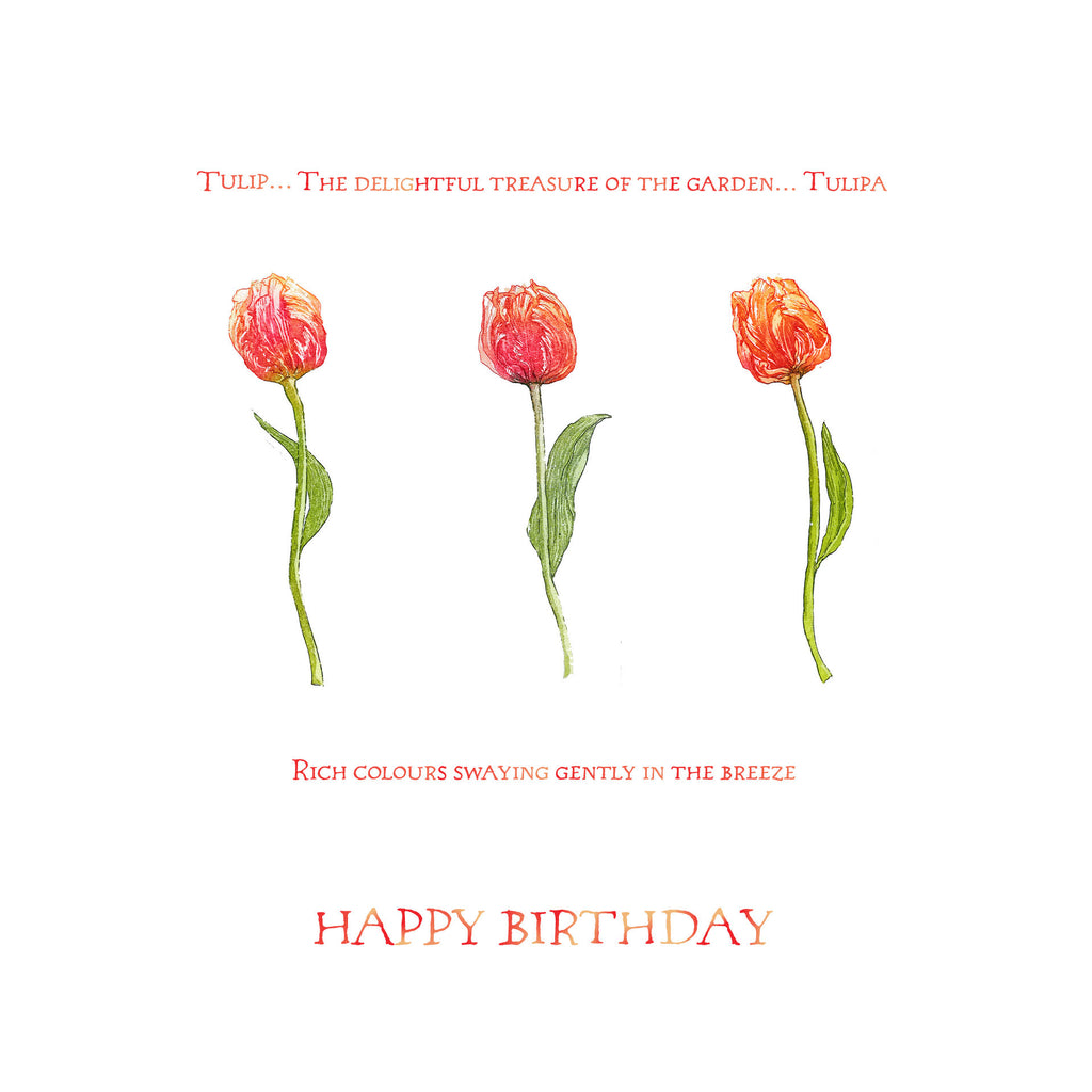 Birthday Card - Three Tulips- 4L12