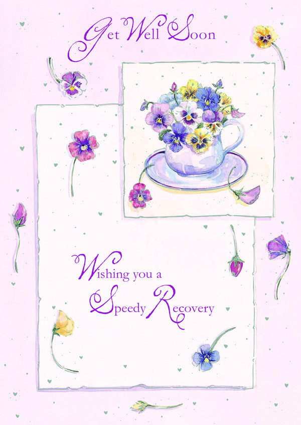 Get well Card - Pansies - 4GWL6