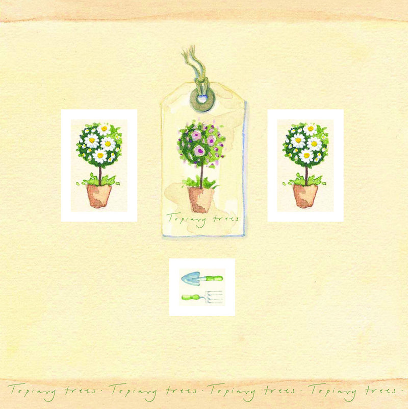 Birthday Card - Trees in pots - L77A02