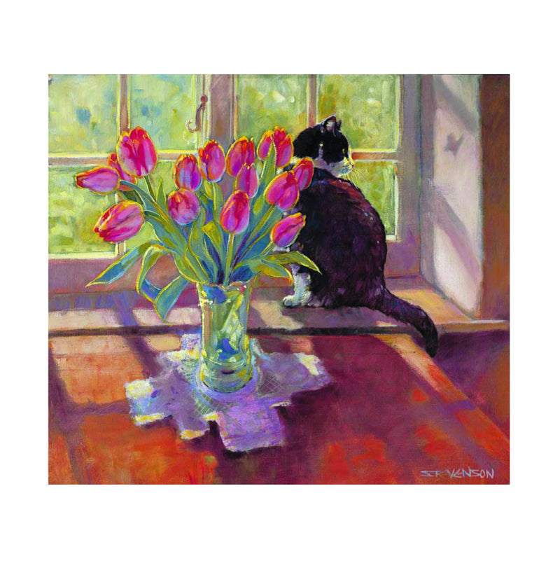 Blank Card - Tulips/Cat - L77E02