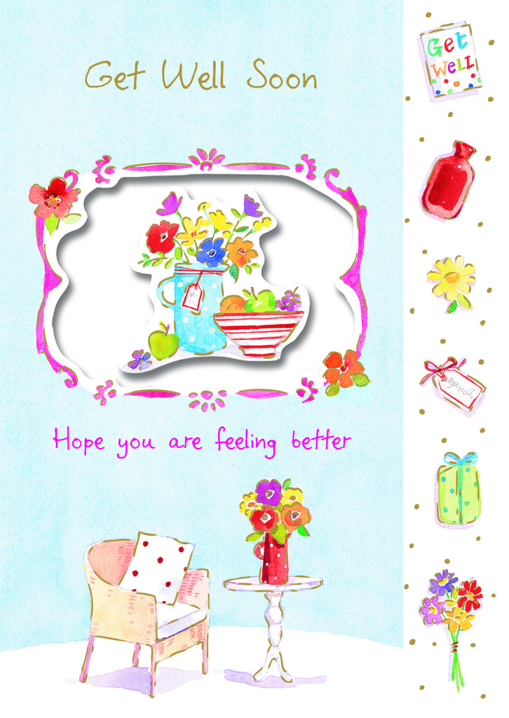 Get Well Card -  Die cut Vase & Fruit - S137