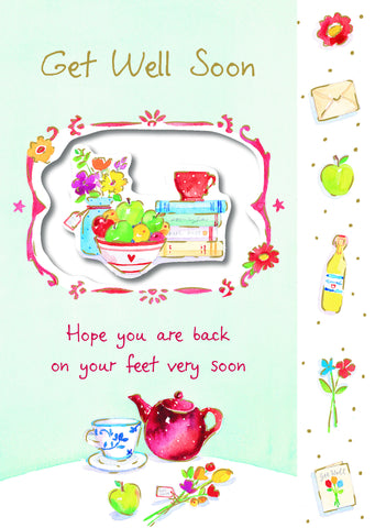 Get Well Card -  Die cut Vase, Fruit & Books - S138