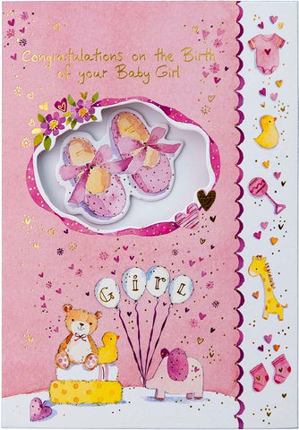 New Birth Card: Baby Girl: S161