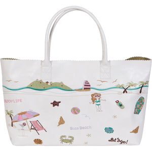 Embroidered Beach Large Tote