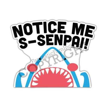 Fantastic Fam Inc Peeking Vinyl Sticker - Notice Me Senpai Shark