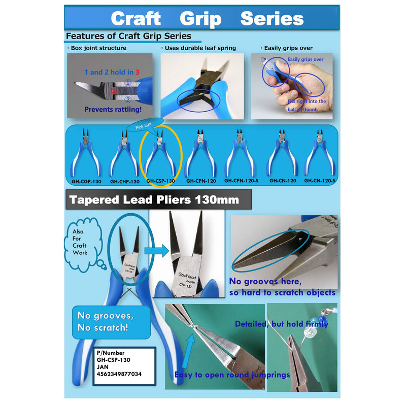 Craft Grip Series Tapered Lead Pliers 130mm GH-CSP-130