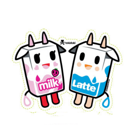 Tokidoki Sticker - Latte & Strawberry Milk
