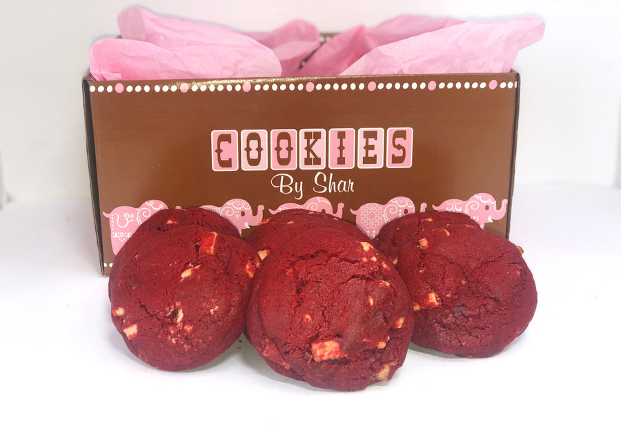 Gourmet Red Velvet with White Chocolate Chunk Cookies with a Gift Box - 24 Pack