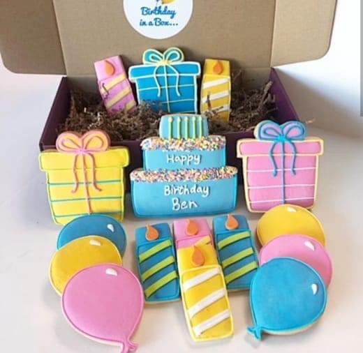 Birthday In A Box Sugar Cookies Gift Box -  16 Pack