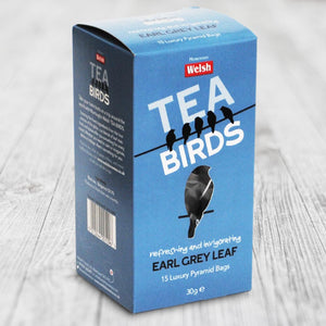Welsh Tea Birds – 15 Earl Grey Leaf Pyramid Bags
